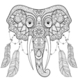 Zentangle indian Elephant with bird feathers in vector image vector image