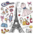 paris france fashion summer setwomangirl colored vector image