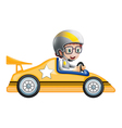 A girl in her yellow racing car vector | Price: 1 Credit (USD $1)