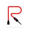 alphabet r letter logo formed jack cable vector image vector image