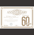 anniversary retro vintage background 60 years vector image vector image