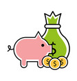 bag and piggy money isolated icon vector image vector image