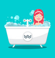 bathing woman in bathtub full of foam flat design vector image vector image