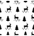 black christmas tree and deer seamless pattern vector image