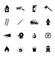 black firefighter icons set vector image vector image