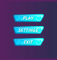 blue game interface elements in cartoon style vector image