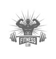 bodybuilder and barbell isolated emblem vector image
