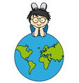 Boywith a globe vector | Price: 3 Credits (USD $3)
