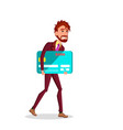 businessman carries big credit card under his arm vector image vector image