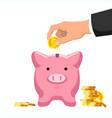 capital saving man hand putting golden coin vector image