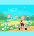 cartoon children playing on the street vector image