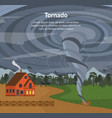 cartoon house and tornado card poster vector image vector image