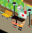 cartoon life couple lover isometric theme vector image