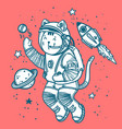 cat astronaut soaring in vector image