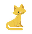 cat yellow isolated cute kitten sits on white vector image vector image