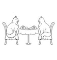 cats on date in restaurant coloring book vector image vector image