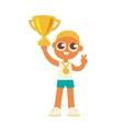 championship winner boy hold a golden goblet vector image vector image