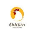 chicken logo farm animal symbol or label vector image vector image