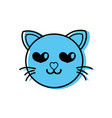 color enamored cat head cute animal vector image vector image