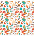 cooking utensils background cute seamless pattern vector image vector image