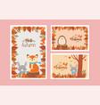 cute animal hello autumn season design vector image vector image