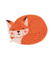 cute hand drawn little fox isolated on white vector image vector image