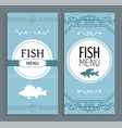 fish menu set restaurant page with dish and price vector image vector image