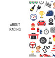 flat car racing icons background with place vector image vector image