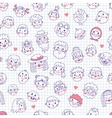 Funny cartoon faces Seamless pattern vector image vector image