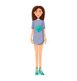 girl in short dress with collar and stilettoes vector image