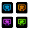 glowing neon computer monitor with shopping vector image vector image