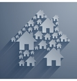 Gray home symbol with long shadows on light gray vector image vector image