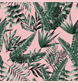 green tropical leaves with shadow seamless pink vector image vector image