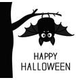 happy halloween bat hanging on tree cute cartoon vector image