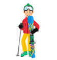 happy skier holding skis and poles standing vector image vector image