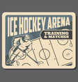 hockey training and matches on ice arena poster vector image vector image