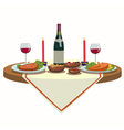 holiday table with wine and and delicious food vector image vector image