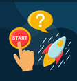 how to start flat concept icon vector image