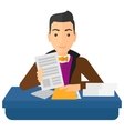 HR manager checking files vector image vector image
