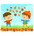 kids enjoying autumn vector image vector image