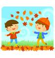 kids enjoying autumn vector image