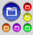 kitchen stove icon sign Round symbol on bright vector image vector image