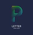 letter p latin alphabet display vector image