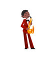 male african american musician in red elegant suit vector image vector image