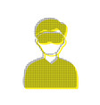 man with sleeping mask sign yellow icon vector image