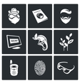 Masking of humans and animals icons set vector image