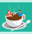 meeting coffee woman and man vector image vector image