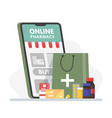 online pharmacy banner with smartphone paper bag vector image vector image