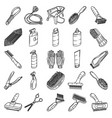 pet tools set icon doodle hand drawn or outline vector image