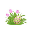 pink tulips and easter egg with floral ornament on vector image vector image
